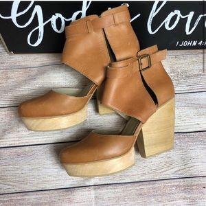 Anthro Fortress of Inca leather platform booties